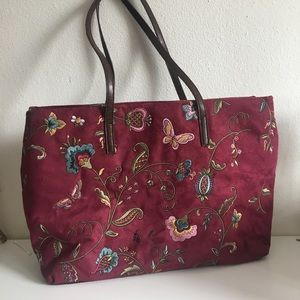 Suede Floral and Butterfly Stitched Bag
